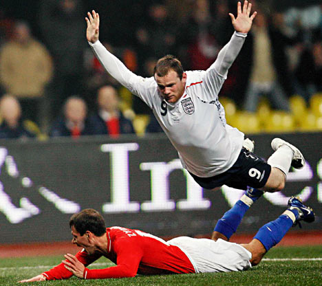 Wayne Rooney doing what he does best